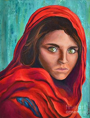 Refugee Girl Painting - Afghan Girl by Cristina Gosserez