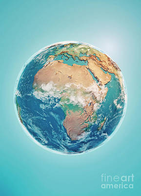 Blue Digital Art - Africa 3d Render Planet Earth Clouds by Frank Ramspott
