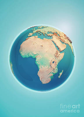 World Map Digital Art - Africa 3d Render Planet Earth by Frank Ramspott