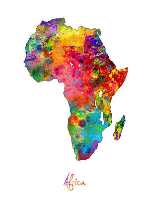 Digital Art - Africa Watercolor Map by Michael Tompsett