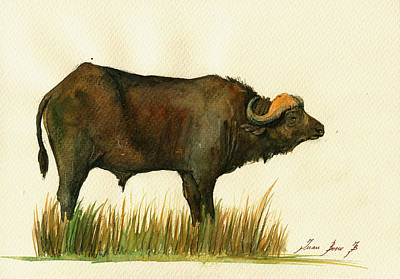 African Buffalo Watercolor Painting Art Print