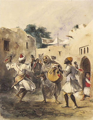 Africans Dancing In The Street Art Print by Eugene Delacroix