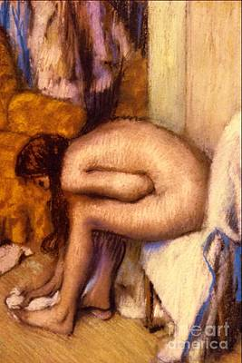 Ponytail Pastel - After The Bath by Edgar Degas