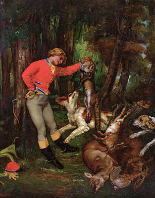 Hunter Painting - After The Hunt by Gustave Courbet