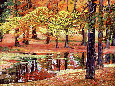 Fallen Leaves Painting -  After The Rain by David Lloyd Glover