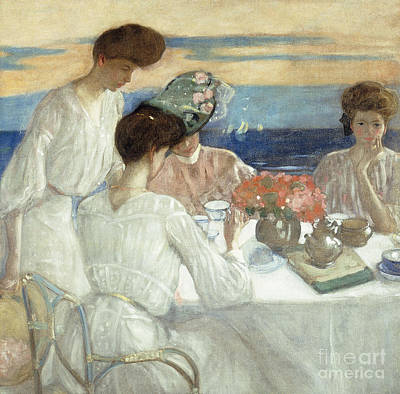 Le Jardin Wall Art - Painting - Afternoon Tea On The Terrace by Frederick Carl Frieseke