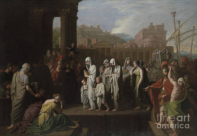 Crying Painting - Agrippina Landing At Brundisium With The Ashes Of Germanicus by Benjamin West
