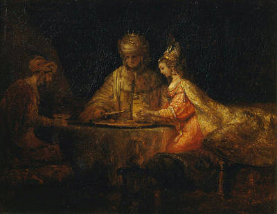 Holy Painting - Ahasuerus And Haman At The Feast Of Esther by Rembrandt van Rijn