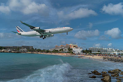 Photograph - Air France Landing At St. Maarten by David Gleeson