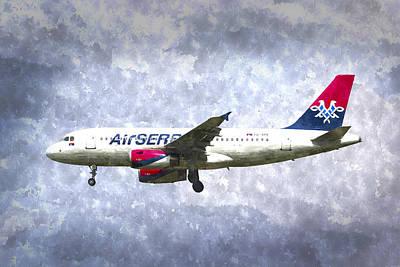 Abstract Stripe Patterns - Air Serbia Airbus A319 Art by David Pyatt