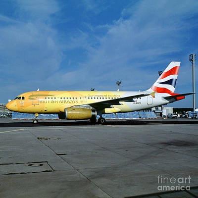 Airbus A319-131, British Airways, G-eupc, Olympic Torch Relay, O Art Print by Wernher Krutein