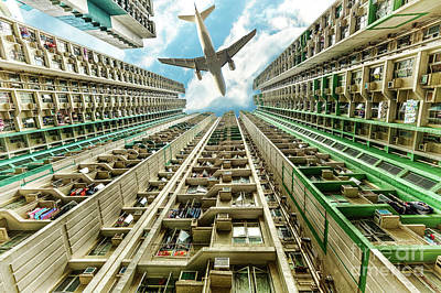 Photograph - Airplane Above Residential District by Benny Marty