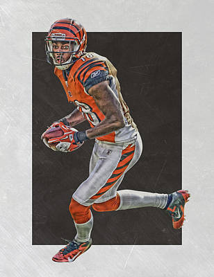Nfl Mixed Media - Aj Green Cincinnati Bengals Art by Joe Hamilton