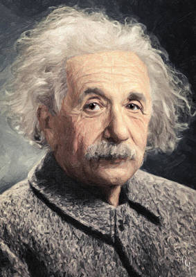 Atom Painting - Albert Einstein by Taylan Apukovska