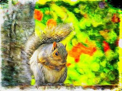 Digital Art - Alert Gray Squirrel Sitting On A Stump. by Rusty R Smith
