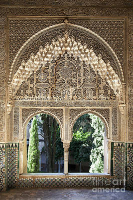 Column Photograph - Alhambra Windows by Jane Rix
