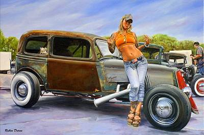 Hot Rod Wall Art - Painting - Alice And The Miss Behavin by Ruben Duran