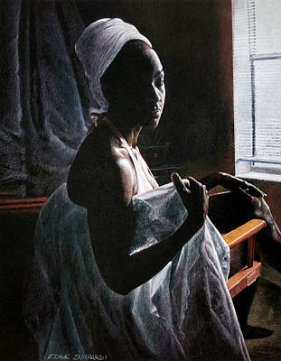 Alicia At The Window Print by Frank Zampardi