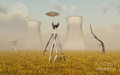 Alien And Ufo Activity At A Nuclear Art Print by Mark Stevenson