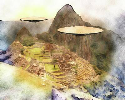 Science Fiction Royalty-Free and Rights-Managed Images - Alien UFOs Over Machu Picchu by Raphael Terra