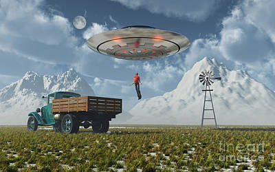 Aliens Abducting A Man Into A Flying Art Print by Mark Stevenson