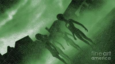 Fantasy Drawings - Aliens in Green Fog by Raphael Terra