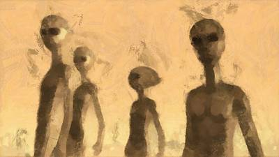 Strange Days Painting - Aliens by Esoterica Art Agency
