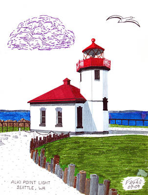 Coastal Drawing - Alki Point Light by Frederic Kohli