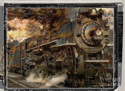 Vintage Locomotive Painting - All Aboard by Mindy Sommers