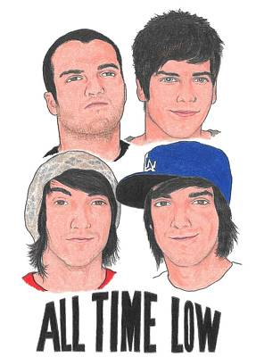 Alternative Rock Group Drawing - All Time Low  by Michael Dijamco