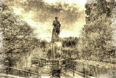 Photograph - Allan Ramsey And Edinburgh Castle Vintage by David Pyatt