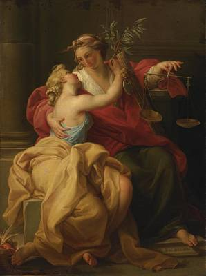 Painting - Allegory Of Peace And Justice by Circle of Pompeo Batoni