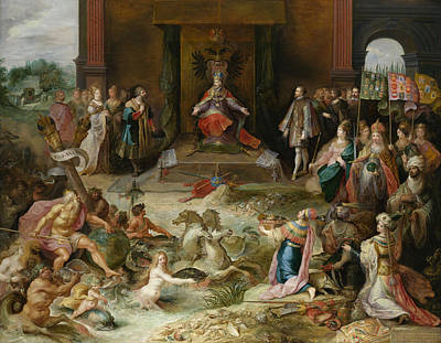 Belgium Painting - Allegory On The Abdication Of Emperor Charles V In Brussels by Frans Francken the Younger