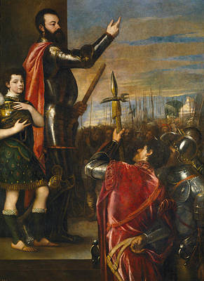 Battle Painting - Allocution Of Marquis Del Vasto To His Troops by Titian