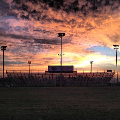 Photograph - Alma High School Don Miller Field Sunrise Bleachers by Chris Brown