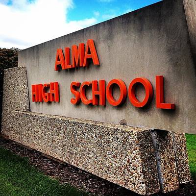 Photograph - Alma High School Sign by Chris Brown