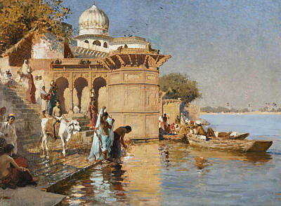 Painting - Along The Ghats, Mathura by Edwin Lord Weeks