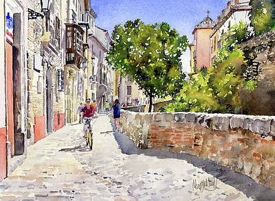 Painting - Alongside The River Darro Granada by Margaret Merry