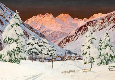 Alpine Mountain Scene Art Print by Alwin Arnegger