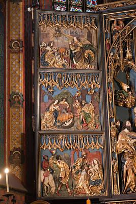Altarpiece By Wit Stwosz In St. Mary's Basilica In Krakow Print by Artur Bogacki