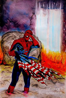 Captain America Drawing Drawing - Amazing Spider-man 9/11 Tribute by Justin Moore