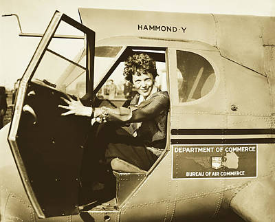 Photograph - Amelia Earhart 1935 by Library Of Congress