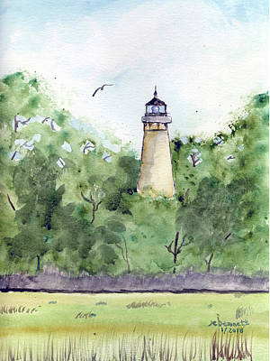 Painting - Amelia Island Lighthouse by John Bennett