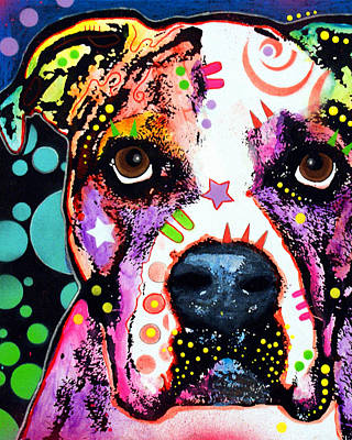 Portrait Dog Painting - American Bulldog by Dean Russo