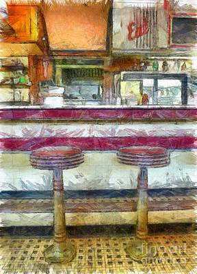 Diners Digital Art - American Diner Pencil by Edward Fielding