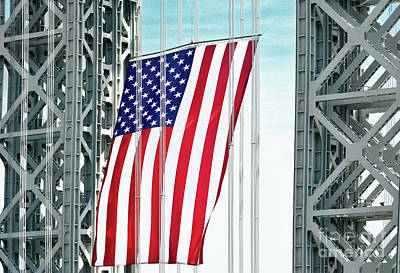 Politicians Royalty-Free and Rights-Managed Images - American Flag flies from GWBridge  by Regina Geoghan