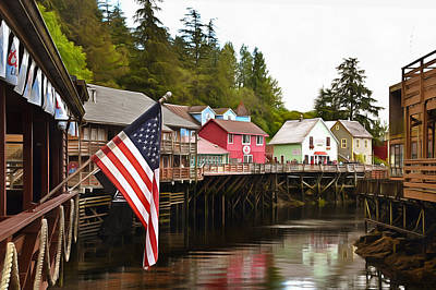 Whore House Photograph - American Flag On Creek Street Ketchikan Alaska Painting by Barbara Snyder