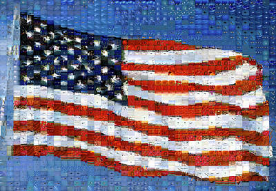 Mosaic Photograph - American Flag by Panoramic Images
