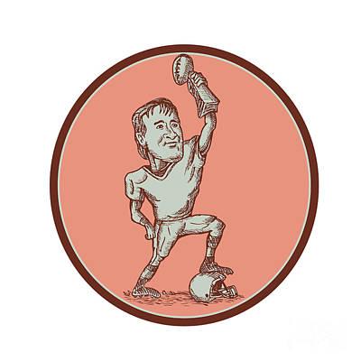 American Football Player Champion Trophy Drawing Art Print by Aloysius Patrimonio