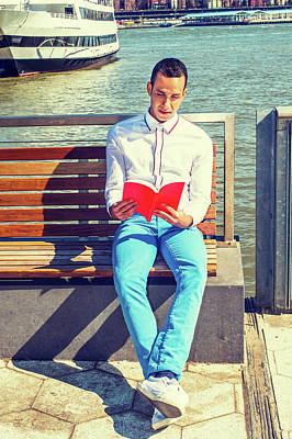 Photograph - American Man Reading Book Outside In New York by Alexander Image